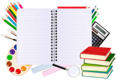 high school student: Regreso a la escuela.Port�til de espiral con material escolar