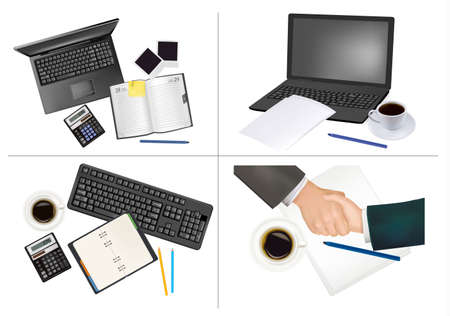 Big set of business and office supplies. Stock Vector - 8792072