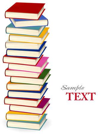 stapel papieren: Stapel kleurrijke boeken. illustratie.
