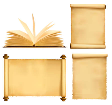 educativo: Conjunto de viejos libros y hojas de papel.  Vectores