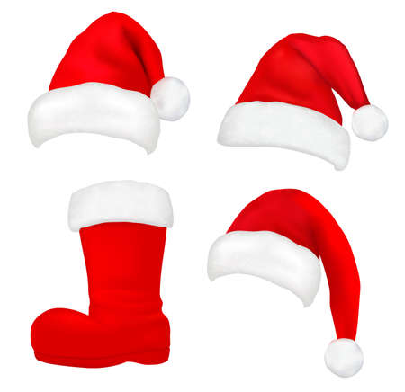 Three red santa hats. Christmas stocking and boot Raster  Vector