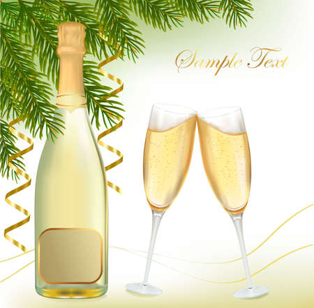 champagne and glasses Vector