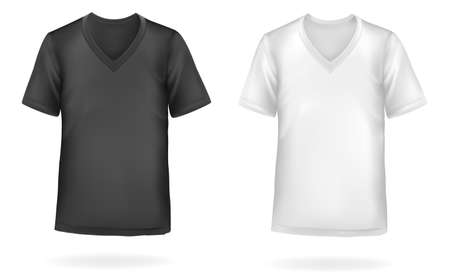 Black and white men t-shirts. Photo-realistic illustration  Vector