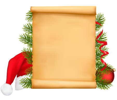 paper hats: Red bow with ribbons and Santa hats and gift box.  Illustration