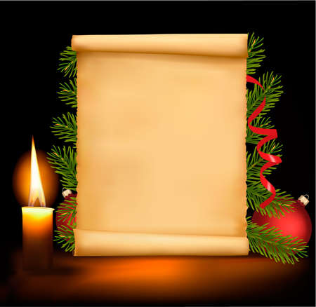 holiday border: Christmas decorations on the old paper.