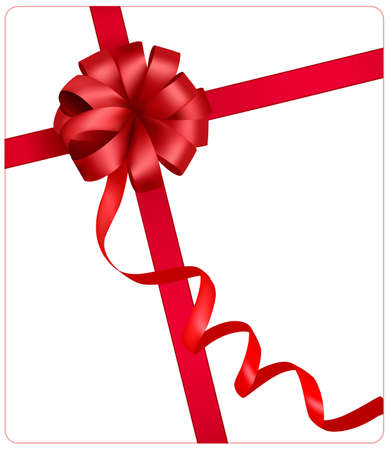 Holiday red bow with a ribbon. Stock Vector - 8792016