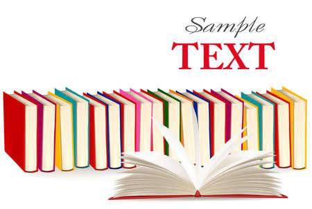 stapel papieren: Achtergrond met kleurrijke en open boeken. illustratie.