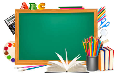 classroom chalkboard: Back to school. Green desk with school supplies.  Illustration
