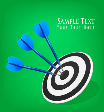 Three darts hitting a target. Success concept. illustration  Vector