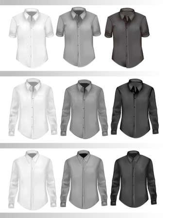 ポロ: 黒と白の男性のシャツ。フォトリアリスティックなイラスト。  イラスト・ベクター素材
