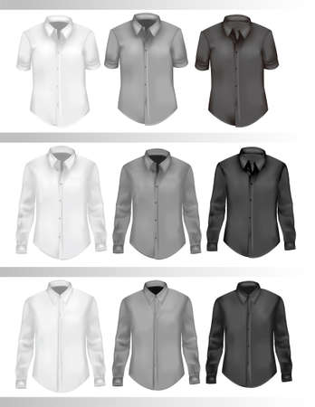sport wear: Black and white men shirts. Photo-realistic illustration.