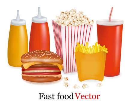 vegetable fat: Group of fast food products. illustration.