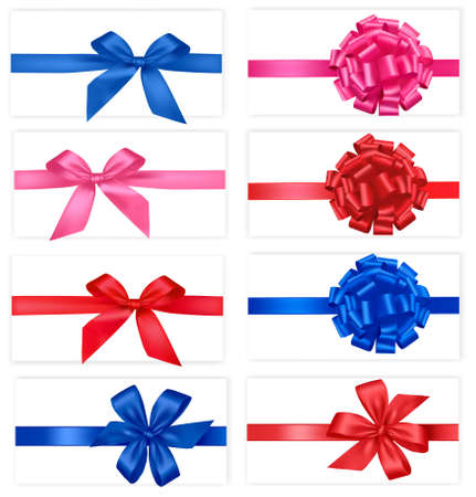 gift bow: Big collection of red gift bows.  Illustration