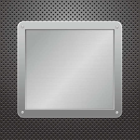 Glossy silver metallic plaque on a textured background. illustration Stock Vector - 8792330