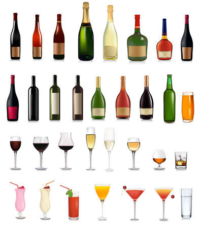 Set of different drinks and cocktails. illustration.