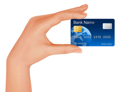 debit: Credit card, money, bank business and hand.
