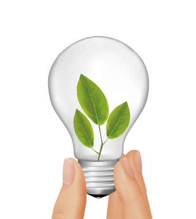 De la mano de plantas dentro de bombilla de luz. ilustración.