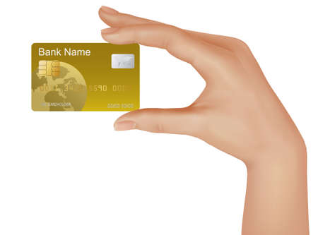 debit: Credit card with chip in a male hand. illustration.