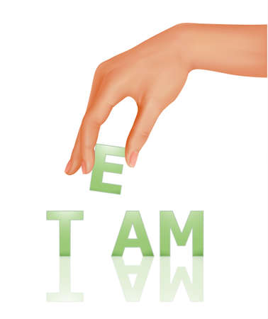 Hand with word Team. Business concept. illustration. Vector