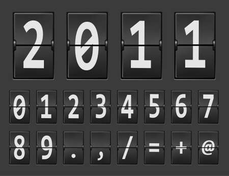 2011 new year on mechanical scoreboard and set of figures. Vector