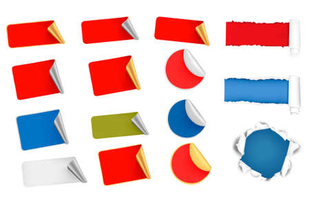 Big set of  tags, labels and ripped papers.  Vector