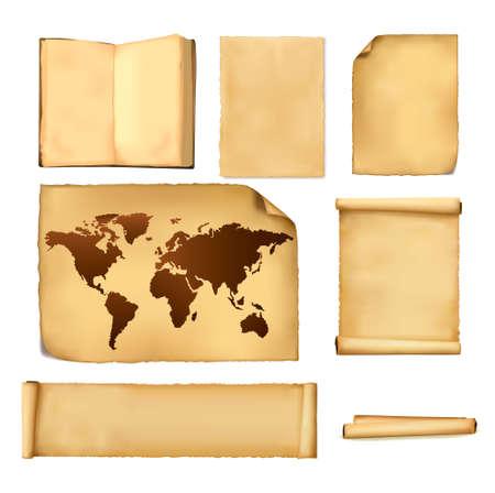 wall maps: Conjunto de hojas de papel y viejo mapa.