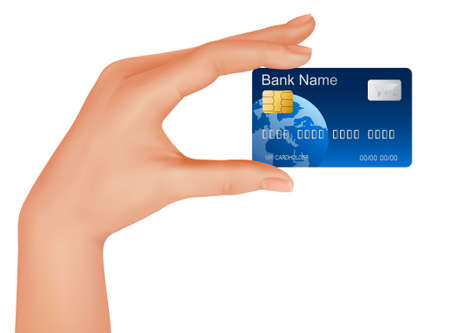 cash on hand: Hand with credit card. Business concept.  illustration.