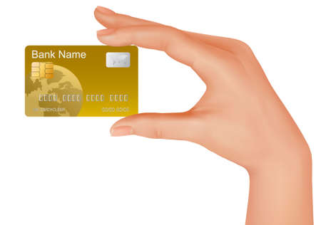 Hand with gold credit card. Business concept.  illustration.  Vector