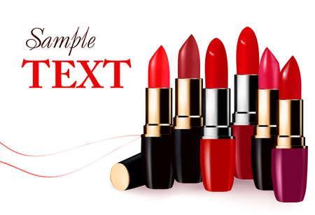 Arrière-plan avec rouge à lèvres de couleur multicolores. illustration.