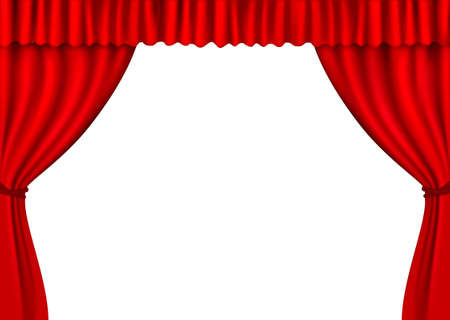 theater auditorium: Background with red velvet curtain.  illustration.