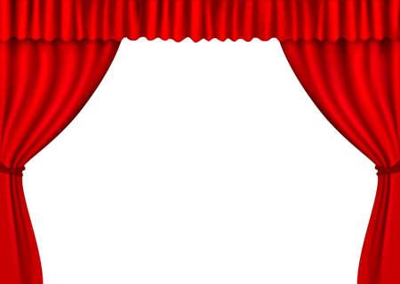 Background with red velvet curtain.  illustration. Vector Illustratie