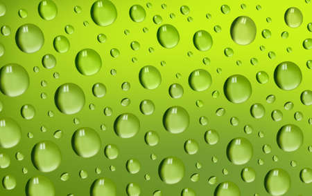Water drops on green background. illustration.  Vector