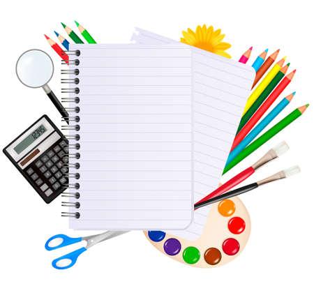 Retour au cahier school.Spiral avec des fournitures scolaires. Vecteur. Vecteurs