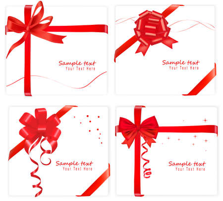 Big collection of red gift bows. Vector. Zdjęcie Seryjne - 8898363