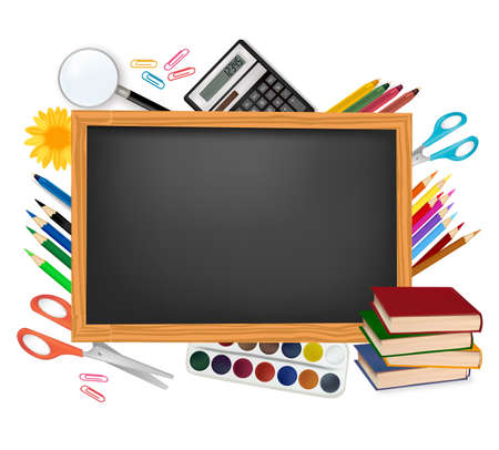 Back to school. Black desk with school supplies. Vector.  Vector