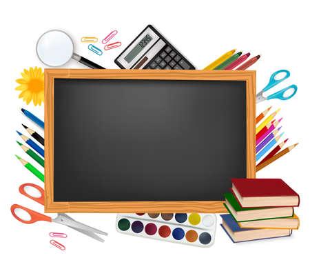 schulklasse: Zur�ck in die Schule. Schwarz Schreibtisch mit Schulmaterial. Vector.  Illustration