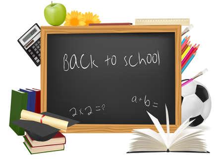 Black desk with school supplies. Vector. Stock Vector - 8928359