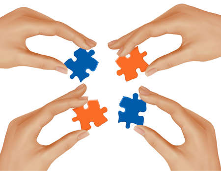 group solution: Hands and puzzle. Business concept. Vector illustration.