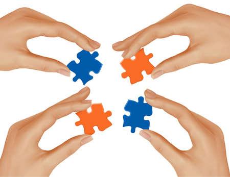 entreprise puzzle: Mains et puzzle. Concept commercial. Illustration vectorielle.  Illustration