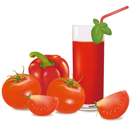 A glass of tomato juice, some tomatoes and basil. Vector  Vector