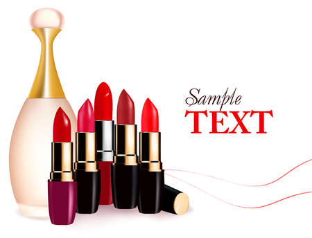Background with multicolored lipsticks and perfume. Vector illustration.  Иллюстрация