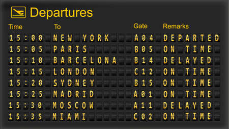Split flap mechanical departures board. Vector Vector