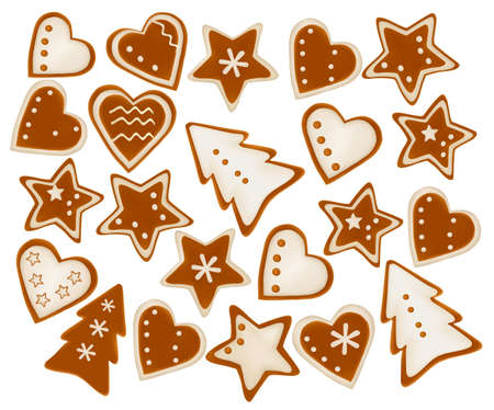 biscuits: Collection of gingerbread christmas cookies. Vector.