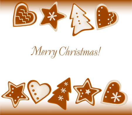 Christmas frame background of gingerbreads. Vector. Stock Vector - 8898361