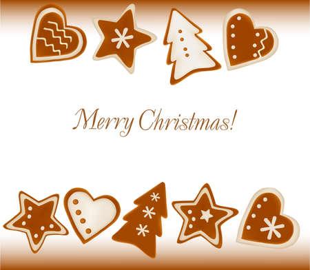 gingerbread cake: Christmas frame background of gingerbreads. Vector.  Illustration