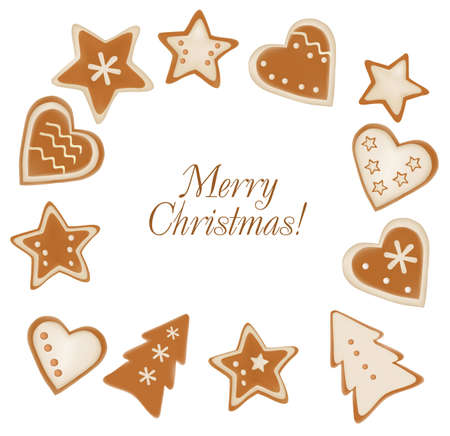 Collection of gingerbread christmas cookies. Vector. Stock Vector - 8898362