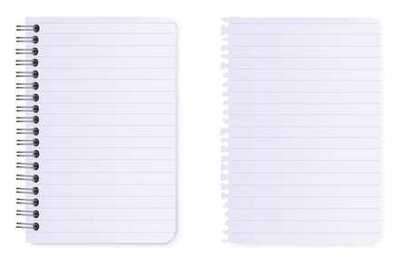 cuaderno espiral: Papel de Bloc de notas y nota de espiral. Vector.