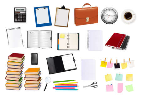 Big collection of business and office supplies. Vector.  Vector