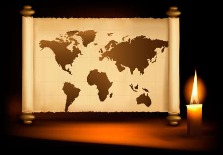 Background with old map and a candle. Vector illustration.  Vector