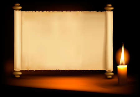 parchment scroll: Background with old paper and a candle.